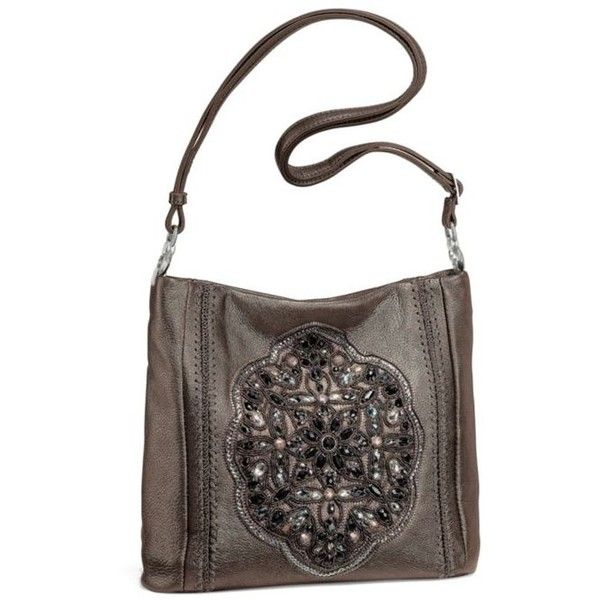 Brighton Pewter Anjulina Beaded Soft Bucket Bag ($400) ❤ liked on Polyvore featuring bags, handbags, shoulder bags, pewter, white shoulder bag, brighton purses, beaded purse, white handbags and white purse
