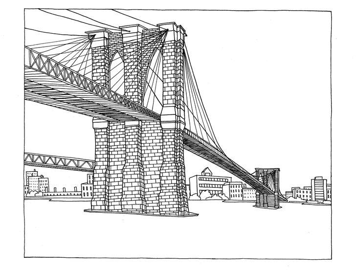Line drawing of Brooklyn Bridge