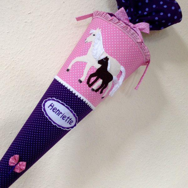 Schultüten - Schultüte Pferde Stute mit Fohlen - ein Designerstück von little-and-sweet bei DaWanda