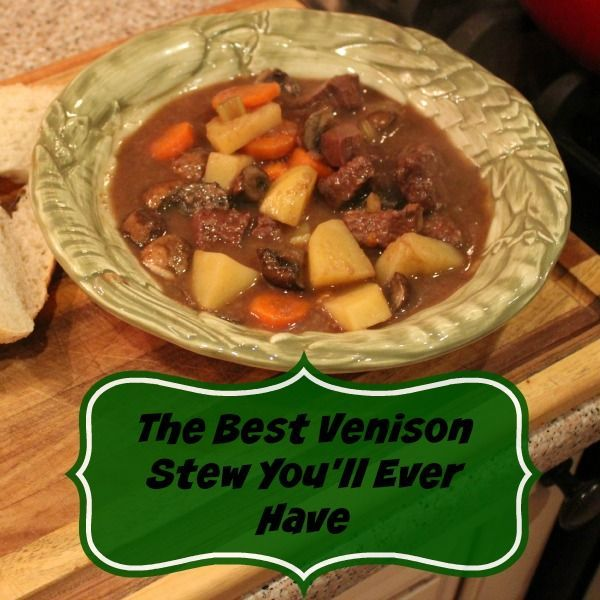 This is the best venison stew you'll ever have! A bit of red wine and some mushrooms make it earthy and with just a touch of sweetness. It is awesome!