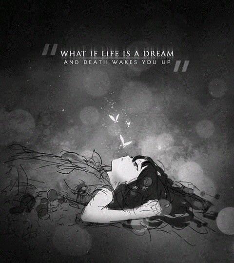 ماذا لو كانت الحياة حلم والموت يجعلك تستيقظ؟  Anime Quotes