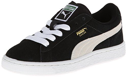 PUMA Suede Junior Sneaker (Little Kid/Big Kid) , Black/White, 2.5 M US Little Kid