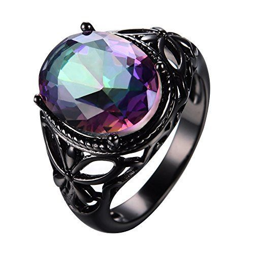 Bamos Jewelry Black Gold Oval Mystic Rainbow Topaz Halloween Best Friend Engagement Wedding Crystal Rings for Womens and Girls Size 7.  Halloween Jewelry for women