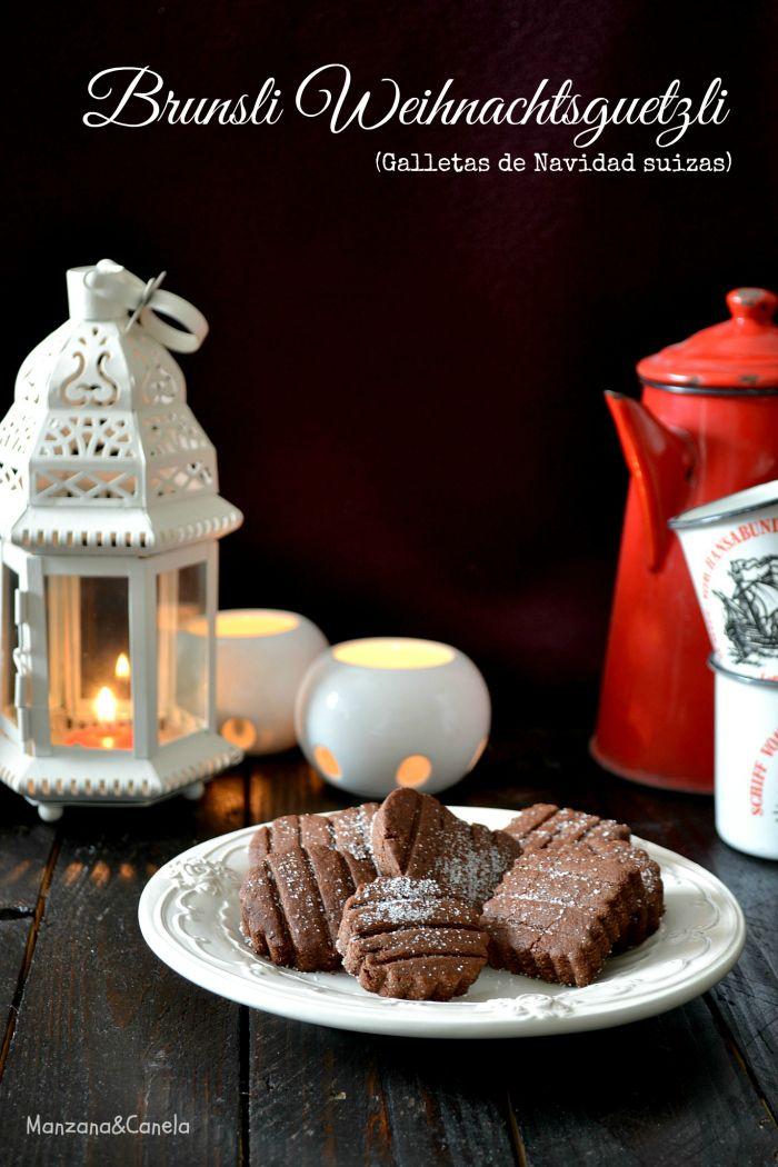 Brunsli: galletas típicas suizas de Navidad de chocolate especiado.