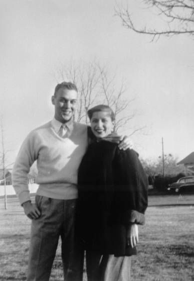 <b>Fall, 1954</b> Martin D. Ginsburg and Ruth Bader Ginsburg taken in the fall while Martin Ginsburg served in the Army, before being drafted, stationed at Artillery Village in Fort Sill, Okla. Martin Ginsburg was drafted into the Army in 1954.