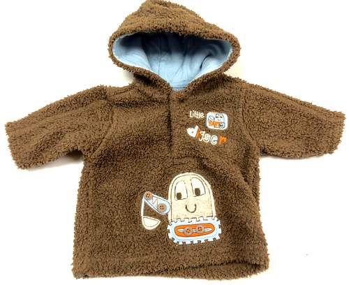 BRUMLA.CZ – Značkový dětský a dospělý second hand a outlet, použité oděvy pro děti a dospělé - Hnědá huňatá mikinka s bagrema kapucí zn.Cherokee