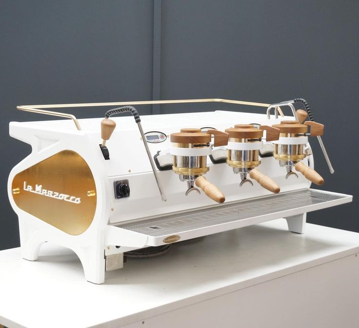 White, brass and handcrafted American oak La Marzocco ...