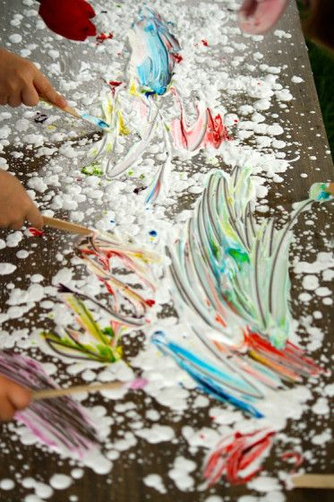"happy hooligans: Sensory art with shaving cream, food colouring & jumbo craft sticks ("",)"