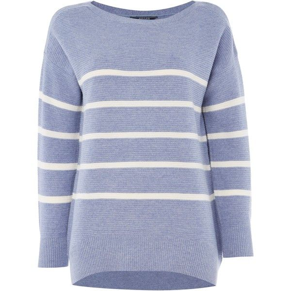 Joules Ottoman Rib Textured Jumper ($75) ❤ liked on Polyvore featuring tops, sweaters, blue, women, joules tops, jumper top, blue top, blue sweater and jumpers sweaters