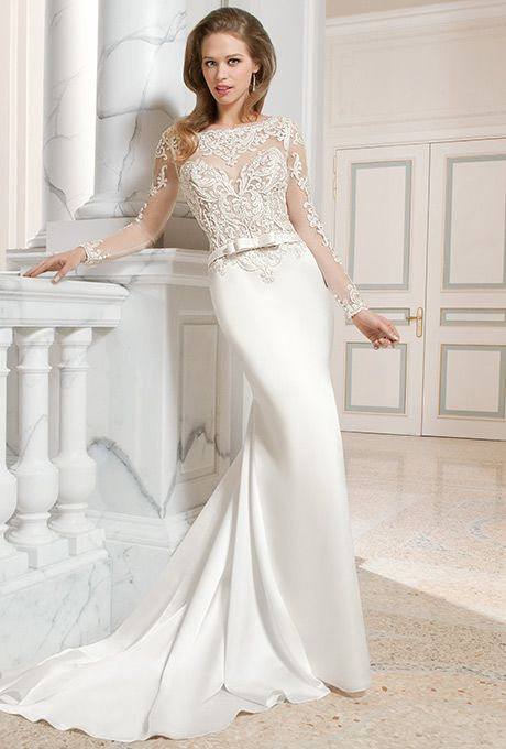 Brides: Demetrios - Couture. This sophisticated, form fitting, luxe satin gown features exquisite embellished embroidery on the bodice and long illusion sleeves. The dramatic, keyhole, illusion back features accents of beaded embroidery and a button closure.
