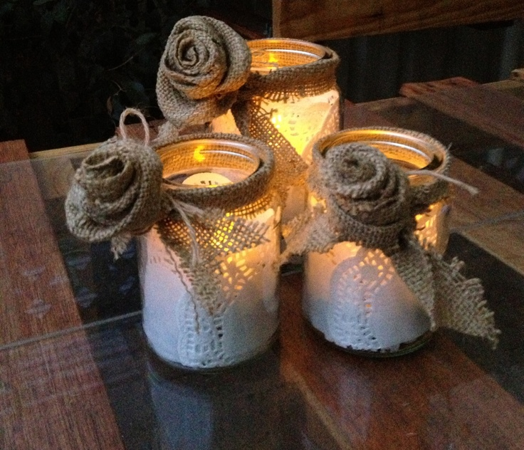 "Moccona jars with burlap flowers:) a perfect gift for the Festival of Lights "" Diwali"""