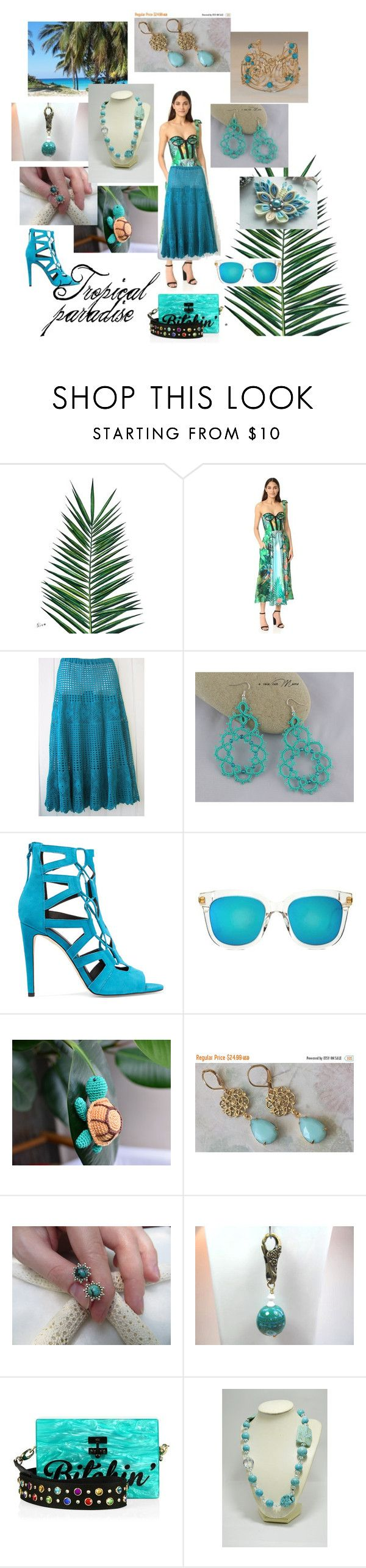 """Tropical paradise"" by varivodamar ❤ liked on Polyvore featuring Nika, Rochas, Rebecca Minkoff, Gentle Monster and Edie Parker"