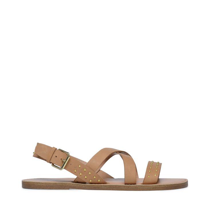 Cognac kleurige sandalen met gouden details