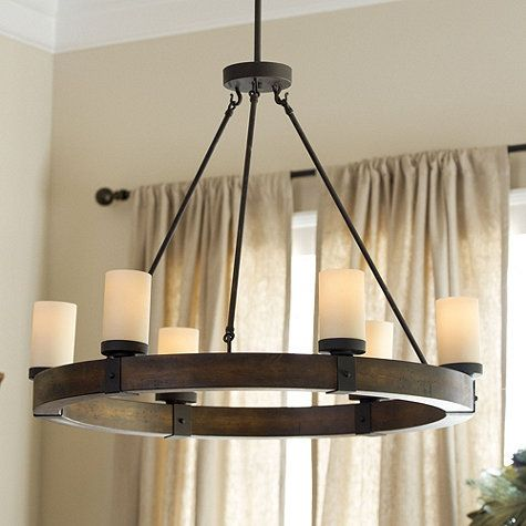 """Arturo 6-Light Round Chandelier $350 Overall: 27 3/4""""H X 32"""" Diameter Ceiling Canopy: 5 1/4"""" Diameter Wood Frame: 2 1/2""""H Glass Sleeves: 5 1/4""""H Each Includes three (3) 12"""" & two (2) 6"""" extension rods. Construction: Made of wood and metal. Lighting: Uses type A 60W medium base bulbs. Cord 10'L & black."""