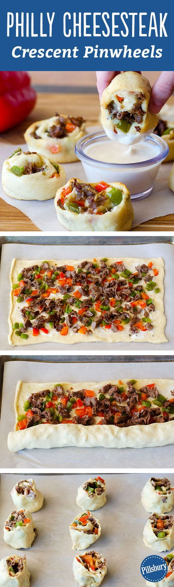 Our taste buds are buzzing after looking at these Philly Cheesesteak Crescent Pinwheels! The best part? They are incredibly easy-to-make (five-ingredient!) party appetizers and are sure to be a hit with your crowd. We suggest making them for a game day with alfredo sauce to dip.: