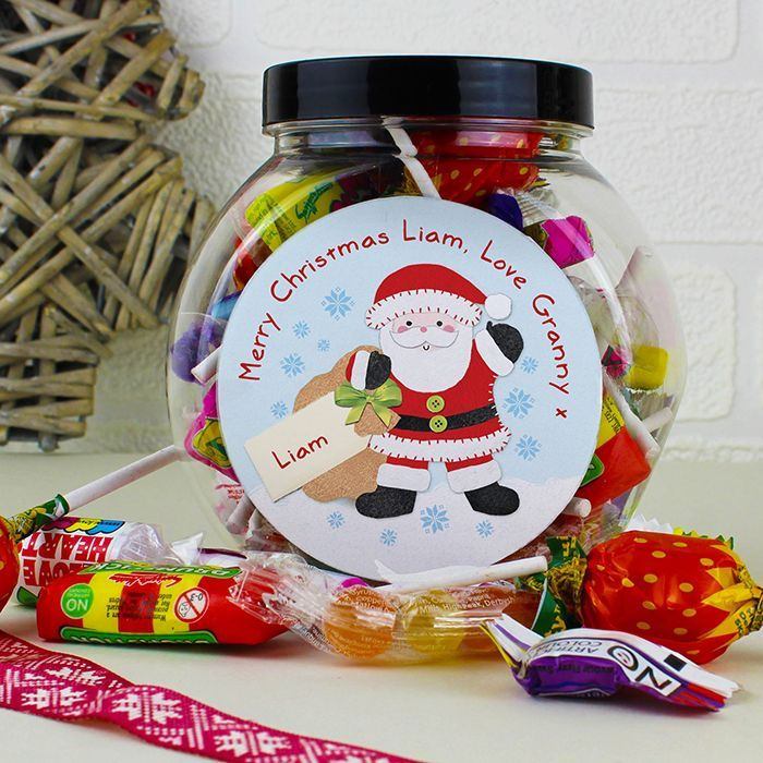 Personalised Felt Stitch Santa Sweet Jar What could be better than a jar of scrumptious sweets this Christmas from Creative Gifts uk
