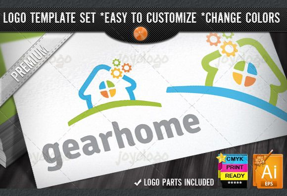 Pixel Gears Home Repair Service Logo by joyologo on Creative Market