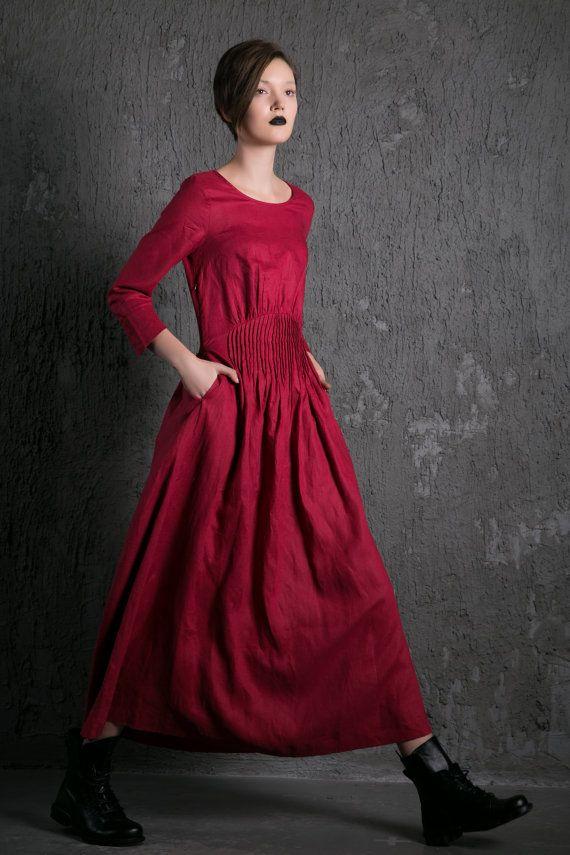 2015 New Red Linen Dress maxi dress women dress C500 by YL1dress