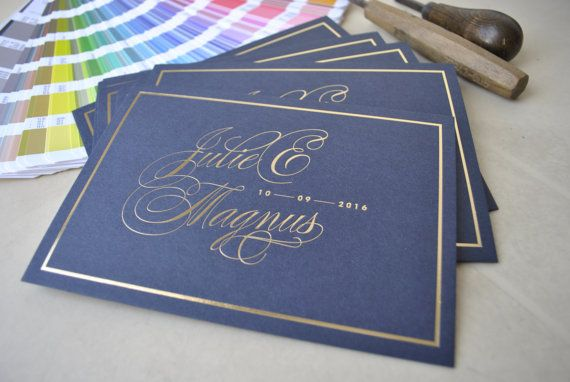 Custom hot foil wedding invitations gold hot by FunkyPrintStudio