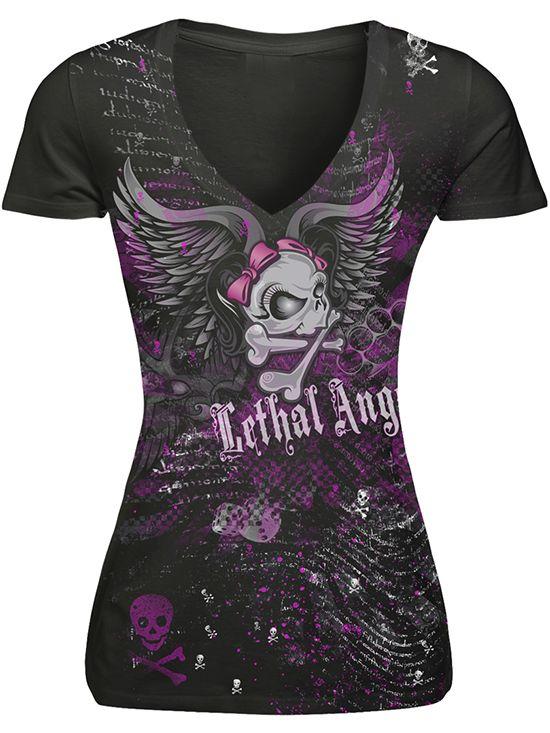 """Women's """"Girl Skull Mashup"""" Tee by Lethal Angel (Black)"""