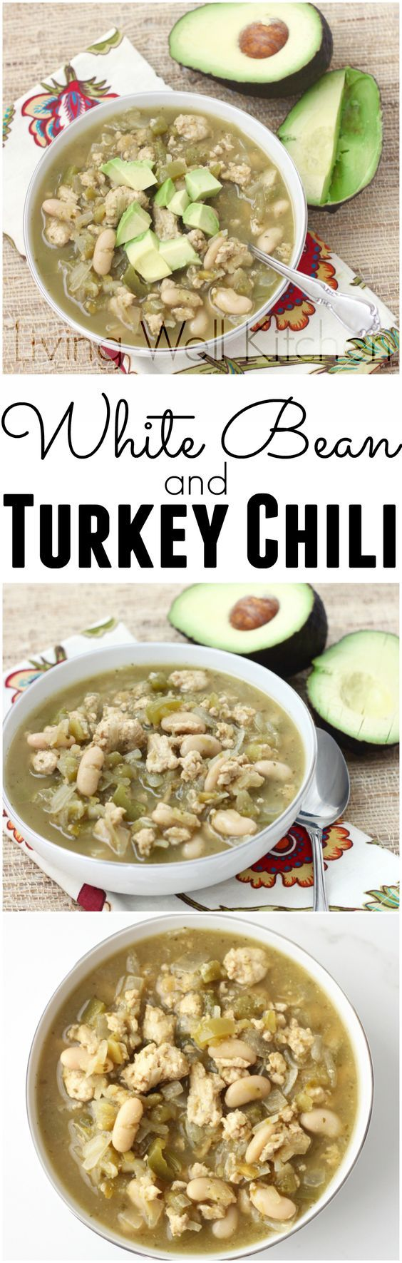 White Bean and Turkey Chili is ready in 30 minutes, full of flavor, vegetables, and spicy homemade goodness. Perfect for a chilly night when you need a quick & healthy supper! from Living Well Kitchen @memeinge - skip the dairy-based toppings for dairy-free!