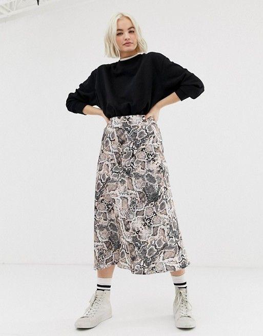 21f1a4878b3f New Look satin bias cut midi skirt in snake print in 2019   Spring ...