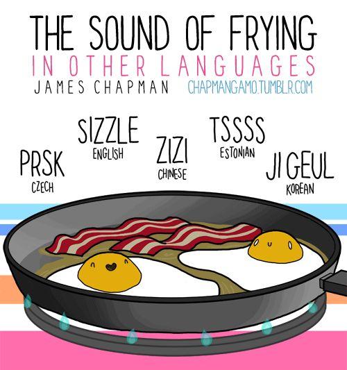 """El sonido de """"freír"""", en varios idiomas."""