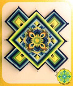 Mandala Tibetano de Hilo, 12Puntas Aplicacion en papel pintado.
