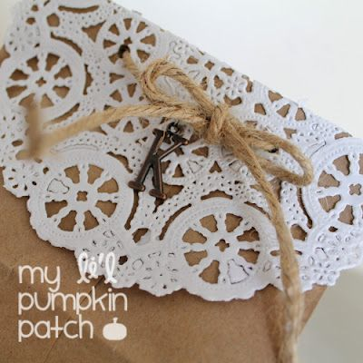 * My Li'l Pumpkin Patch *: Paper Sack & Doily Gift Wrap