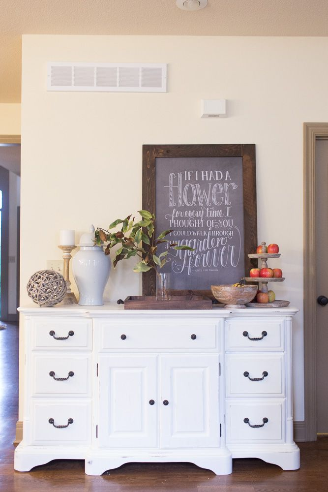 Easy, creative DIY makeover: dresser to buffet, dresser to sideboard. From a brown dresser to a fun white, french cottage buffet (also known as a sideboard) to hide random dishes and serving ware! Repurposing and upcycling rustic furniture.
