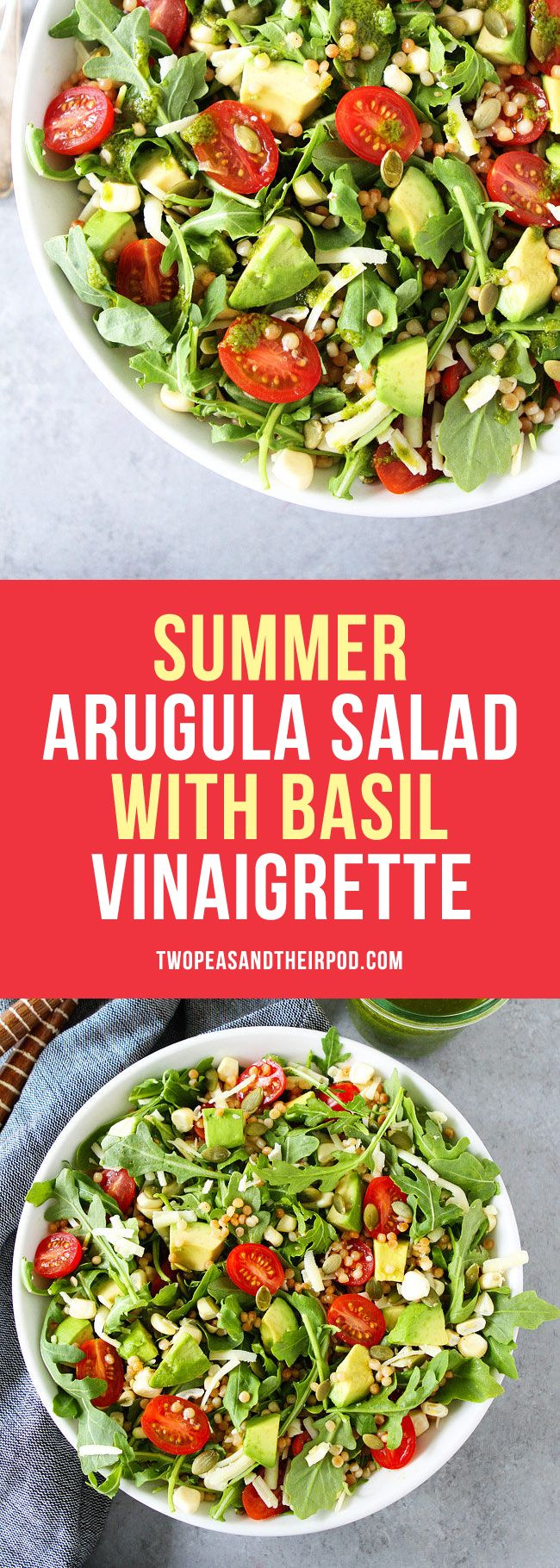 Summer Arugula Salad with Israeli couscous, avocado, corn, tomatoes, cheese, pepitas, and a simple basil vinaigrette. This fresh and easy salad goes great with any summer meal or can be your meal!