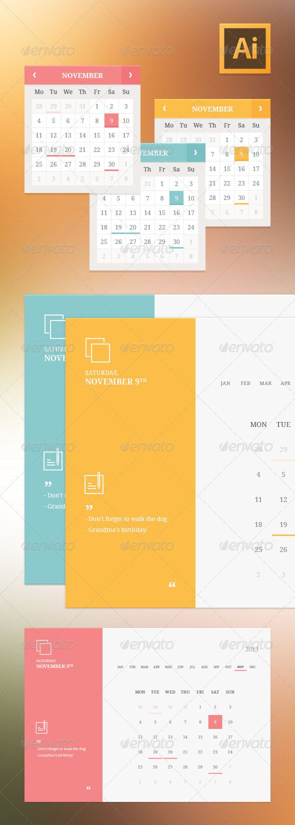 Flat Style Calendar Widgets  #GraphicRiver         Flat user interface vector set for website development and mobile application design with minimal icons, buttons, control elements and forms in modern fresh design style.