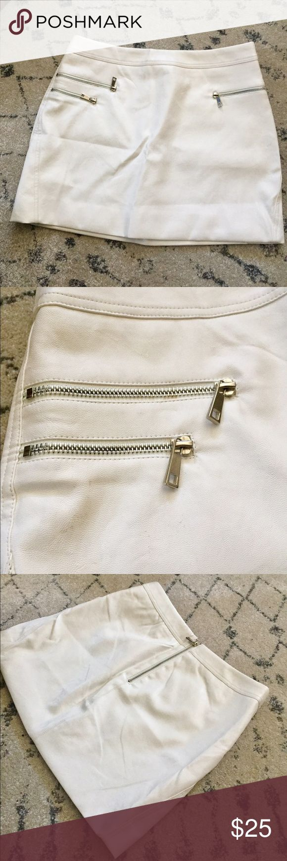 Faux leather, white mini skirt! Super cute, only worn twice. Slightly off white, faux leather mini skirt. Super cute with an all white look! Forever 21 Skirts Mini