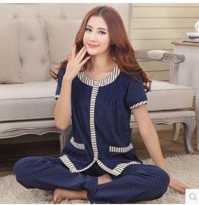 Pajamas For Women Summer Cotton Short Sleeve Pyjamas Trousers Ladies Pajama Sets Women Lounge Sleep Womens Pajamas