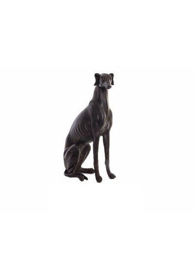 Figura de galgo. Fabricado en resina, color envejecido. Medidas 53 x 27 cm. Piezas únicas de lujo y originalidad.  Figura elegante y muy decorativa para amantes de los perros...También son trofeos para concursos, carreras de galgos, homenaje, premio.