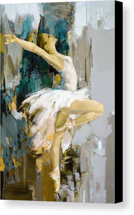 Catf Canvas Print featuring the painting Ballerina 23 by Mahnoor Shah