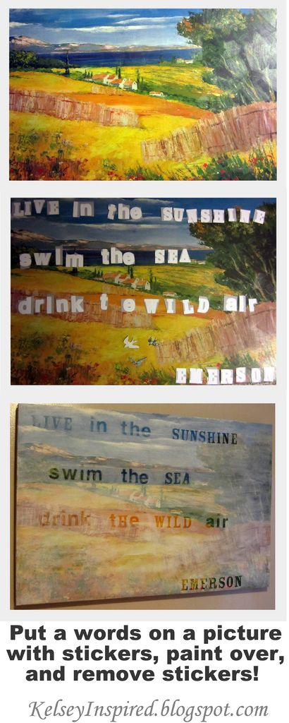 Shut the front door!!!! Recycle old painting by painting over word stickers, then removing them. (or do this on a new painting) Look at the end result! Brilliant!