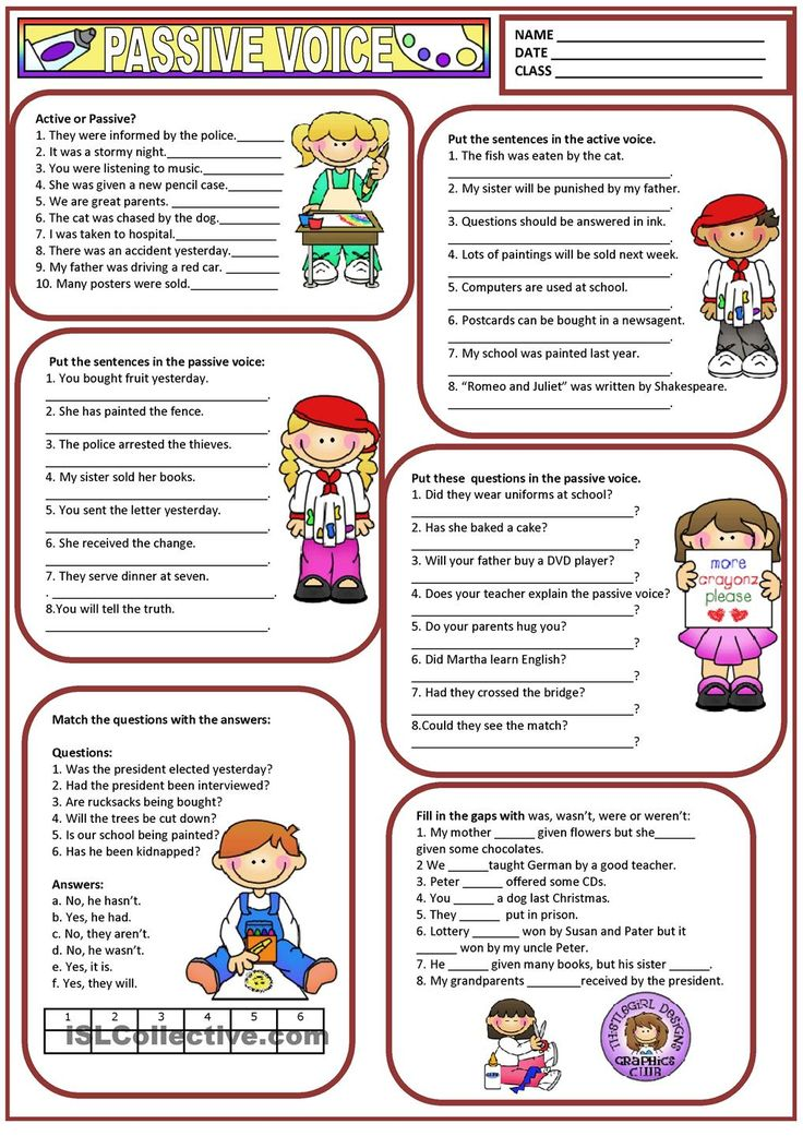 Worksheets on active and passive voice for class 8 with answers