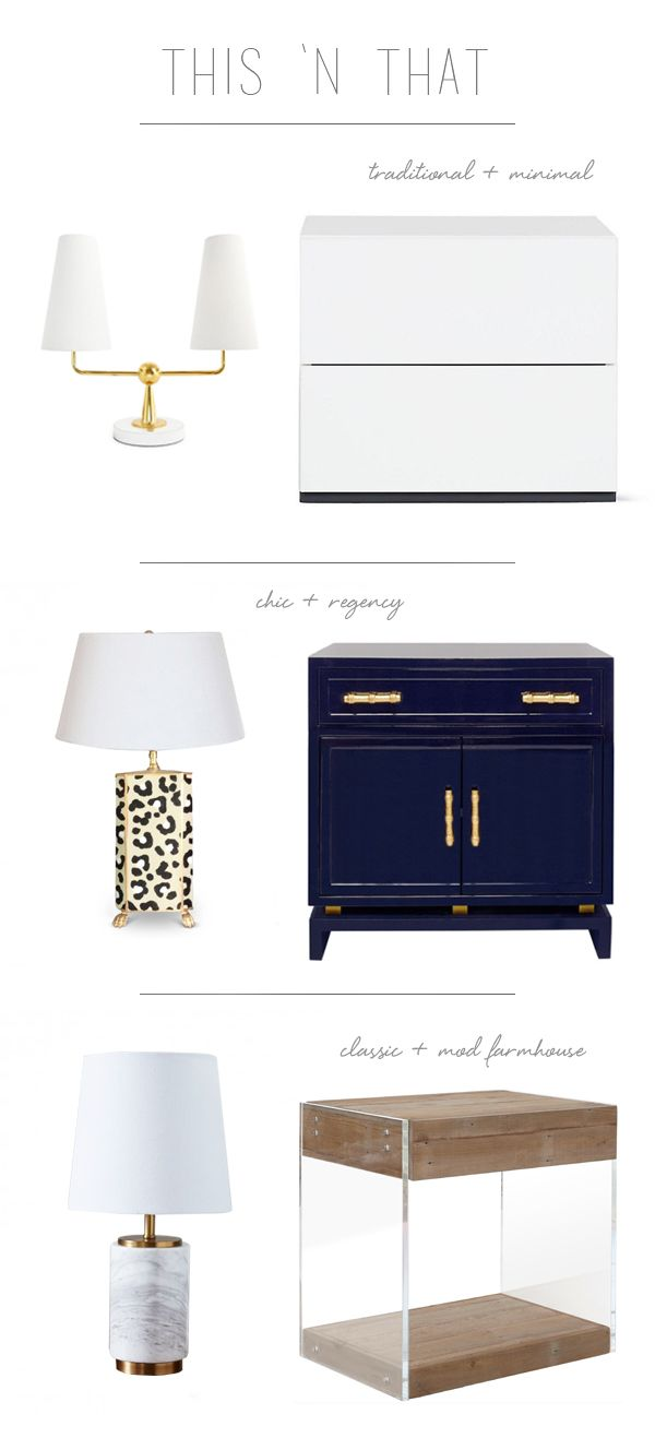 lamp and nightstand pairings for the bedroom via coco
