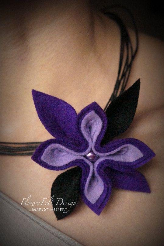 Feltro collana fiori romantici moderni gioielli di MargoHupert