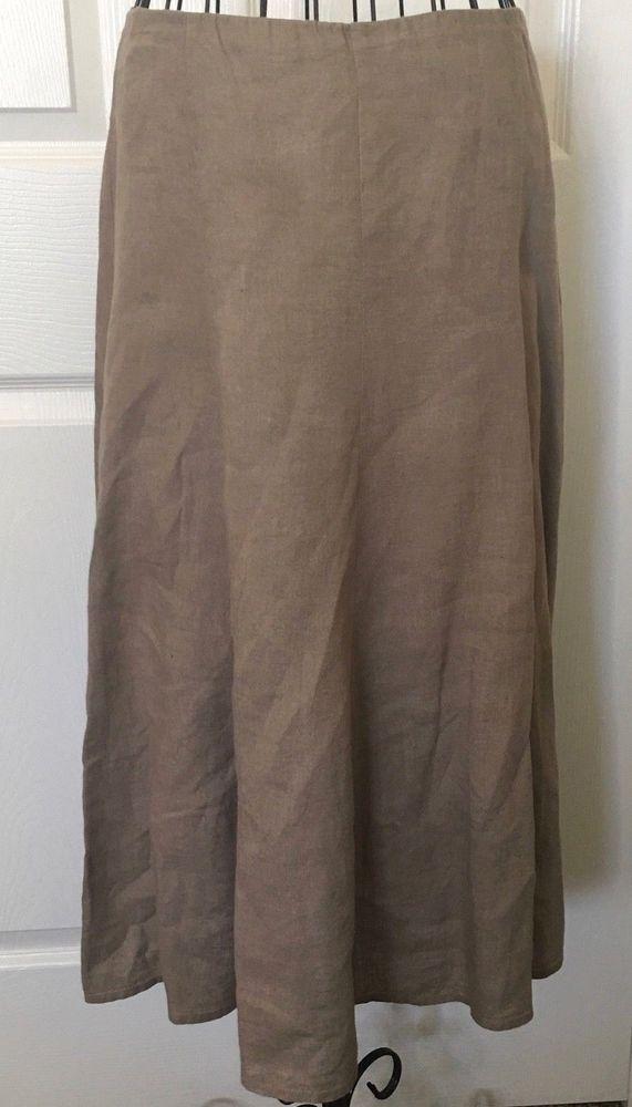 0be36c2ebb7 Eileen Fisher Petite 100% Irish Linen Flared Skirt Lined Midi Zipper Size P   EileenFisher  FlaredSkirt