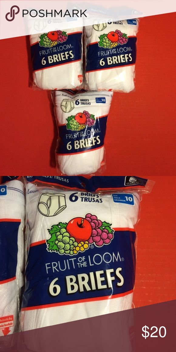 """Fruit of the Loom Boys 100% Cotton White Underwear Fruit of the Loom Boys 100% Cotton White Underwear. 6 Briefs in each re-closable bag. Size 10, Approximate: weight 57-75 lbs., waist 24-25"""". WOW, a Total of 18 pair of briefs! Great for upcoming any time and school time. You can never have too many! Fruit of the Loom Accessories Underwear"""