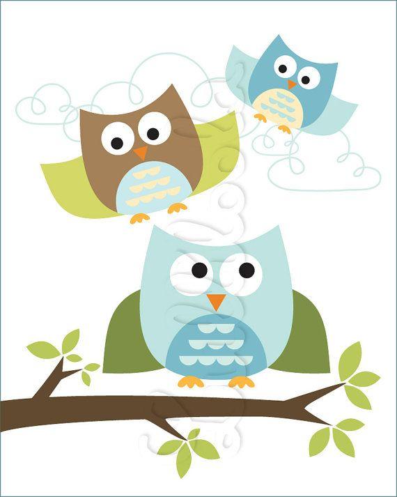 Owl . Baby Nursery Wall Art . Children Wall Art by Luliloola