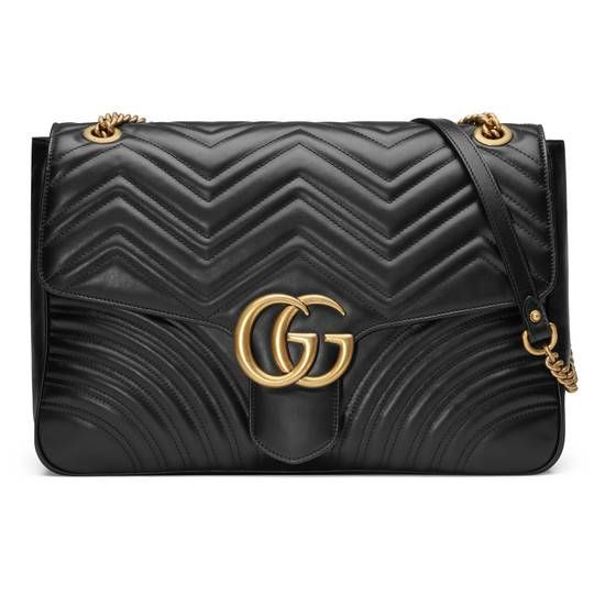 892b4901036f GG Marmont large shoulder bag in Black matelassé chevron leather with a  heart