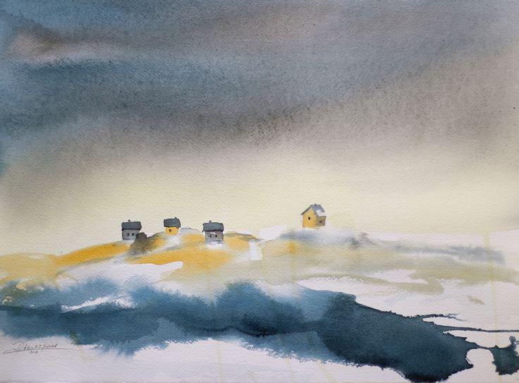 Coastal Happiness – watercolour giclée print by R.T.Brokstad