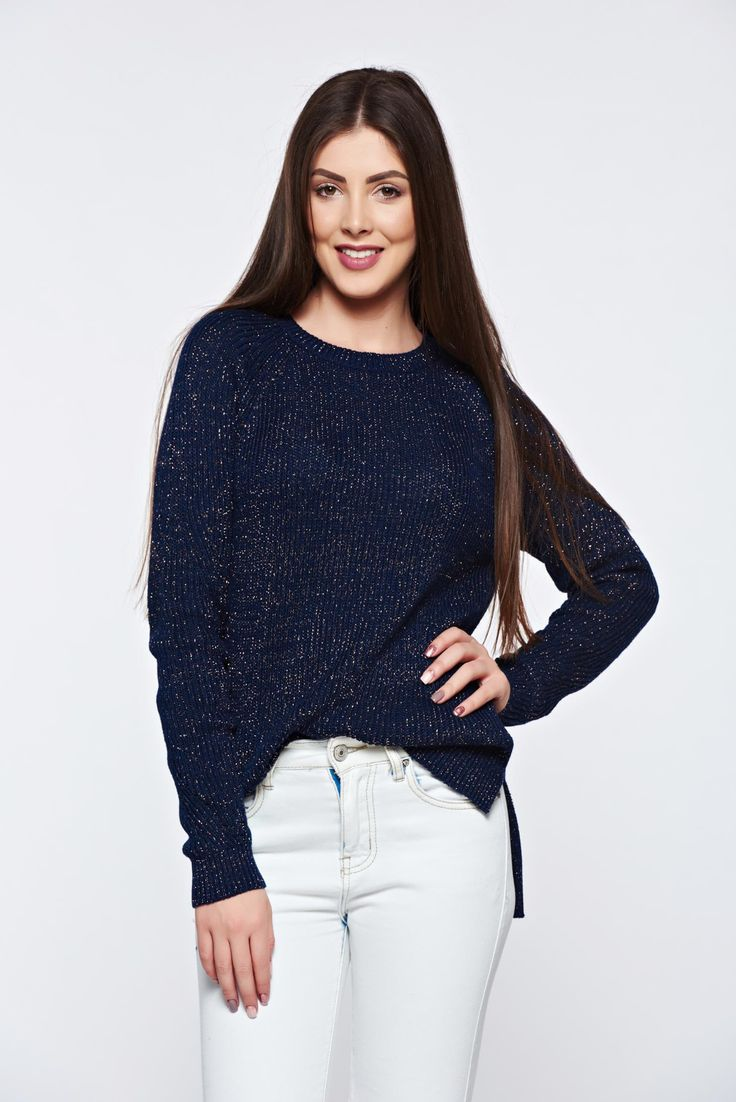 Top Secret darkblue sweater knitted with lame thread with easy cut asymmetrical, asymmetrical cut, easy cut, lame thread, long sleeves, knitted fabric