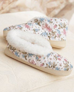 National Floral Quilted Foot Slippers, Floral, Small National. $14.95