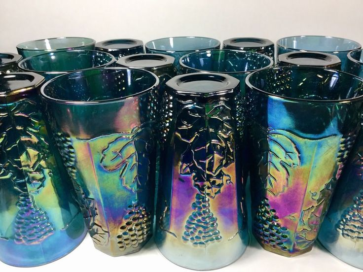Indiana Carnival Glass Blue Harvest Lot 16 Iridescent Coolers Drinking Glasses. #IndianaGlass