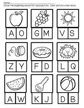 Can You Identify The Beginning Sound Kindergarten