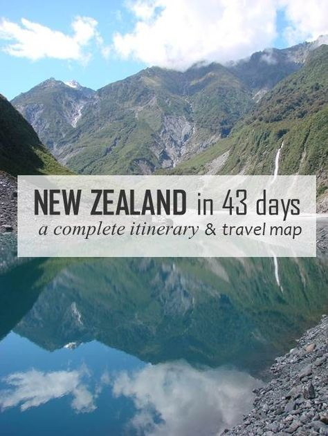 Complete New Zealand itinerary detailing a 6 week trip around the North and South Island. Map, itinerary, campsites and activities.